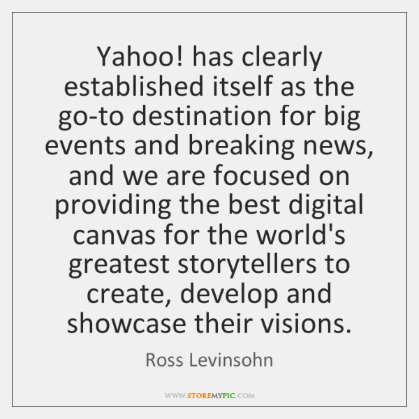 Yahoo! has clearly established itself as the go-to destination for big events ...