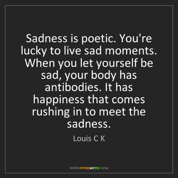 Louis C K: Sadness is poetic. You're lucky to live sad moments....