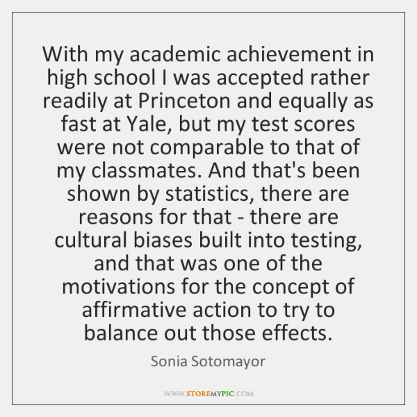With my academic achievement in high school I was accepted rather readily ...