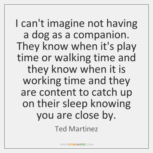 I can't imagine not having a dog as a companion. They know ...