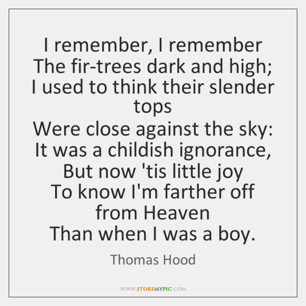 i remember i remember by thomas hood