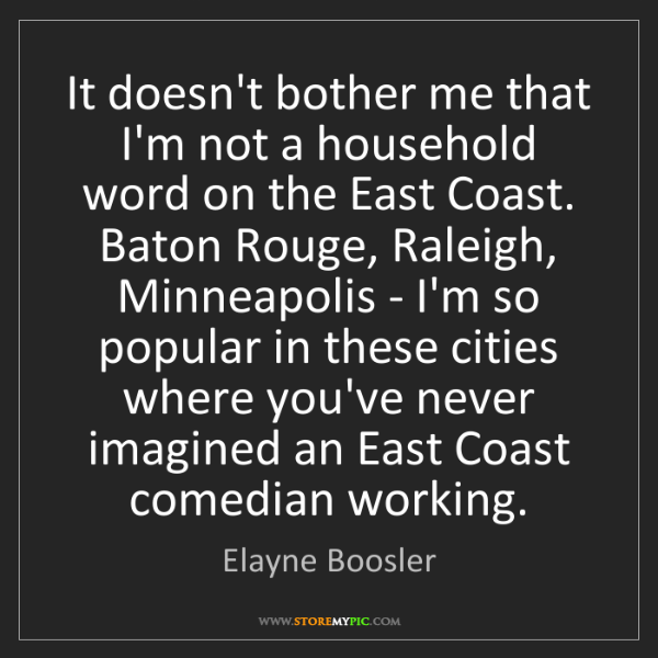Elayne Boosler: It doesn't bother me that I'm not a household word on...