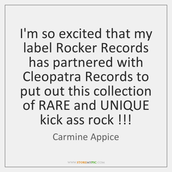 I'm so excited that my label Rocker Records has partnered with Cleopatra ...