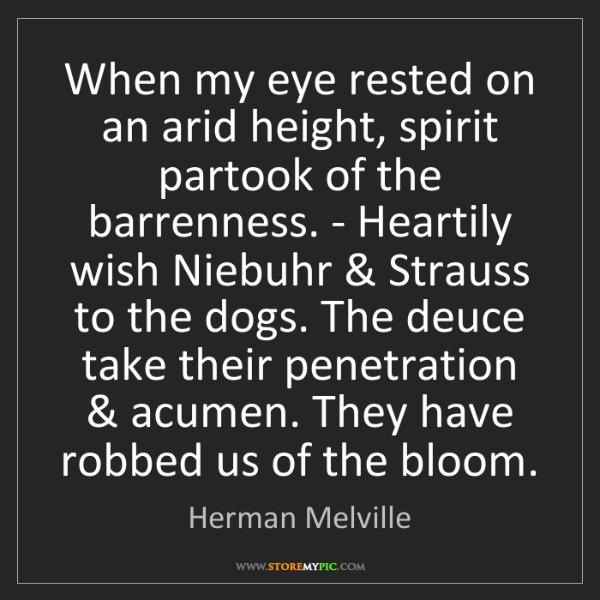 Herman Melville: When my eye rested on an arid height, spirit partook...