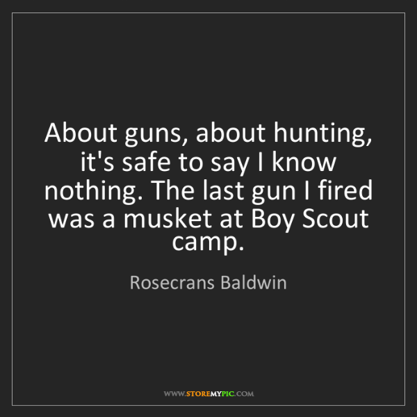 Rosecrans Baldwin: About guns, about hunting, it's safe to say I know nothing....