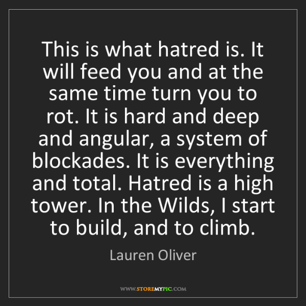 Lauren Oliver: This is what hatred is. It will feed you and at the same...