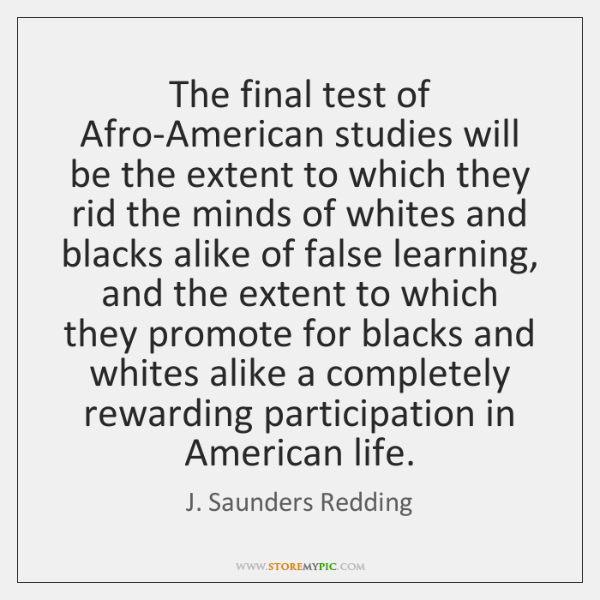 The final test of Afro-American studies will be the extent to which ...