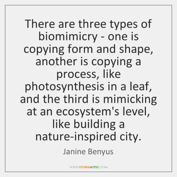 There are three types of biomimicry - one is copying form and ...