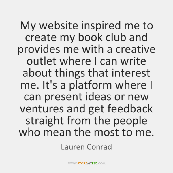 My website inspired me to create my book club and provides me ...