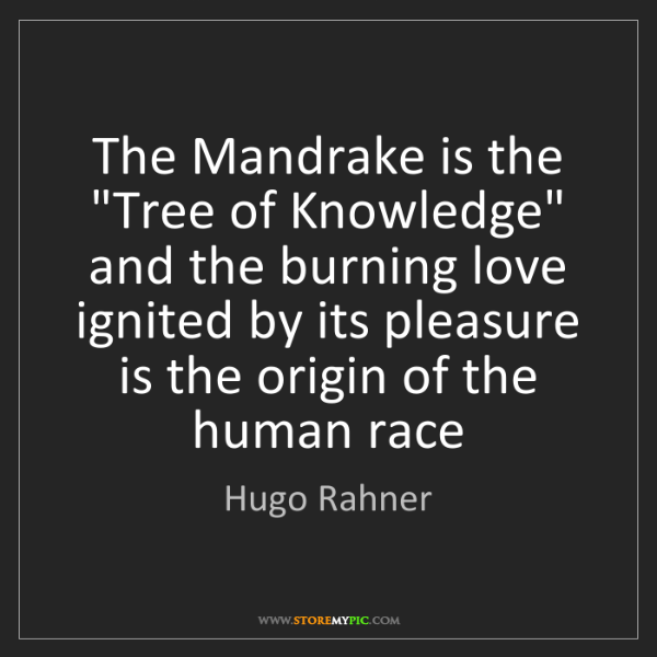"Hugo Rahner: The Mandrake is the ""Tree of Knowledge"" and the burning..."