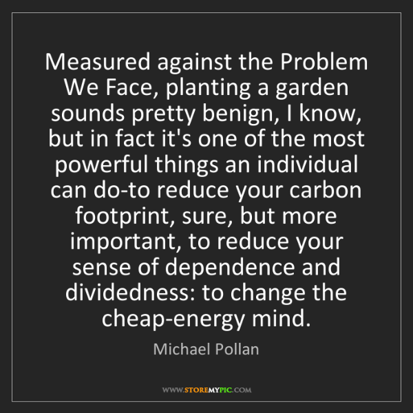 Michael Pollan: Measured against the Problem We Face, planting a garden...