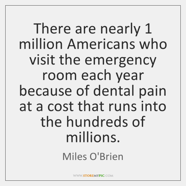 There are nearly 1 million Americans who visit the emergency room each year ...