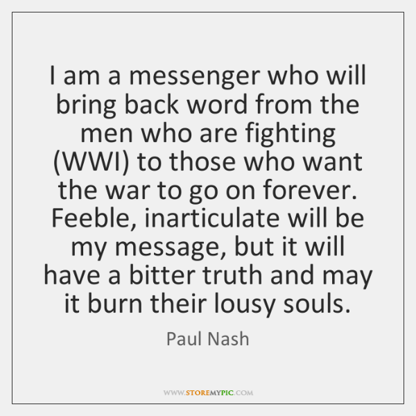 I am a messenger who will bring back word from the men ...