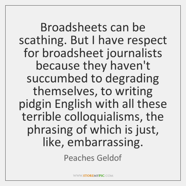 Broadsheets can be scathing. But I have respect for broadsheet journalists because ...