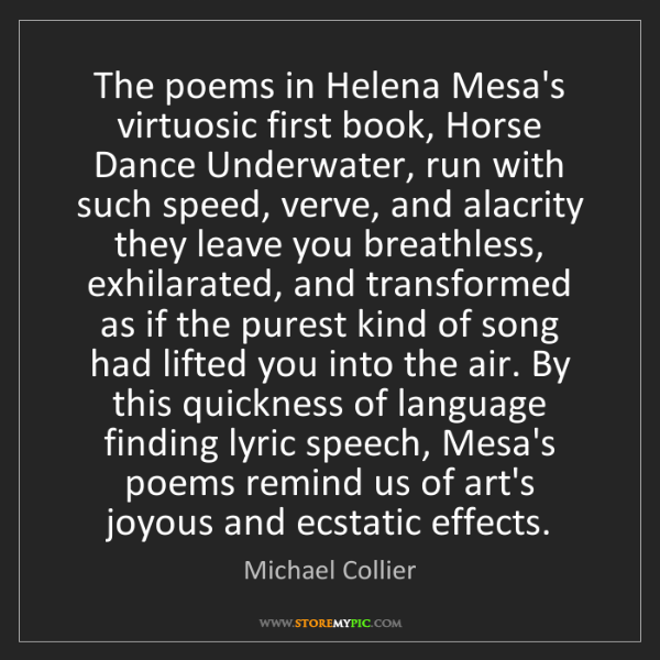 Michael Collier: The poems in Helena Mesa's virtuosic first book, Horse...