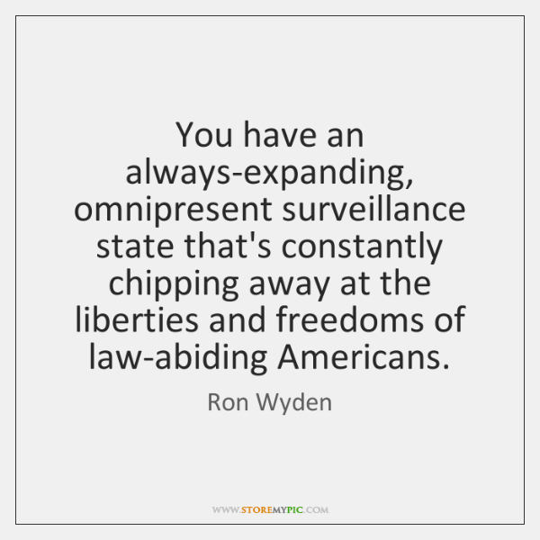 You have an always-expanding, omnipresent surveillance state that's constantly chipping away at ...