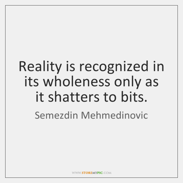 Reality is recognized in its wholeness only as it shatters to bits.