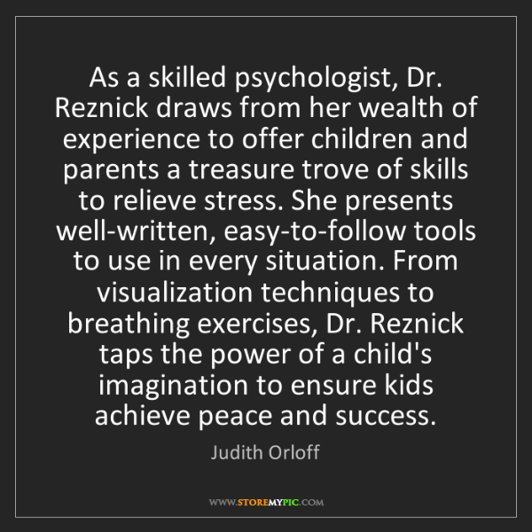 Judith Orloff: As a skilled psychologist, Dr. Reznick draws from her...
