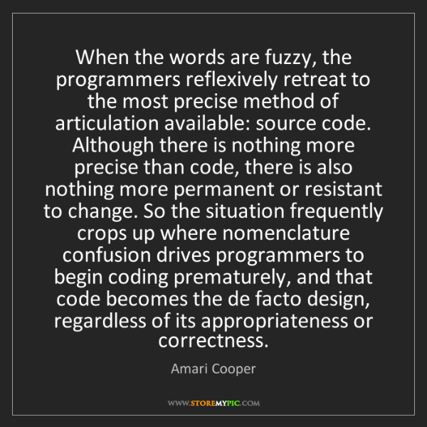 Amari Cooper: When the words are fuzzy, the programmers reflexively
