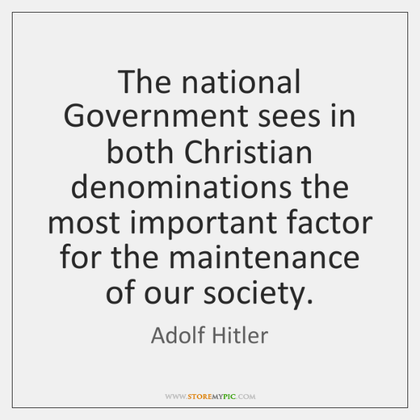 The national Government sees in both Christian denominations the most important factor ...