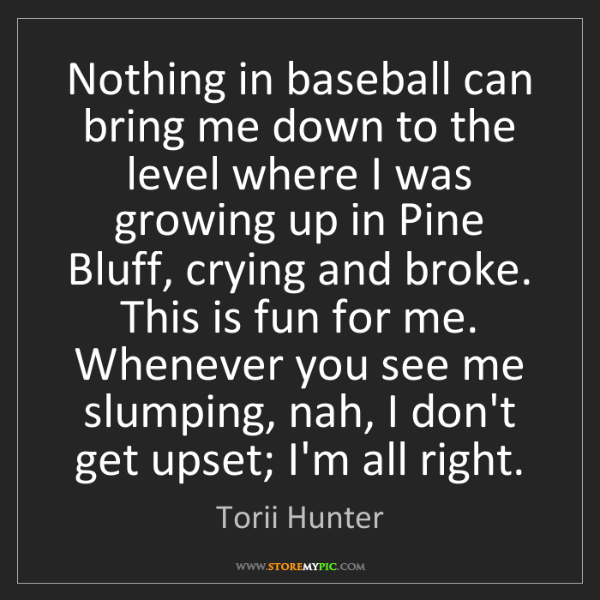 Torii Hunter: Nothing in baseball can bring me down to the level where...