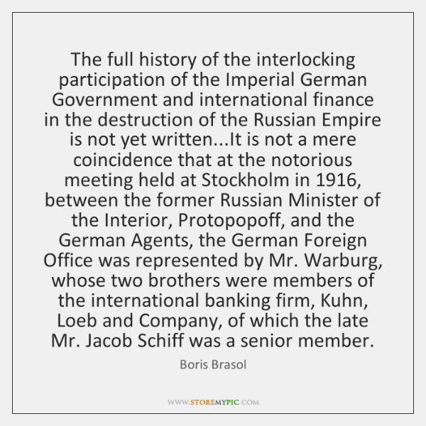 The full history of the interlocking participation of the Imperial German Government ...