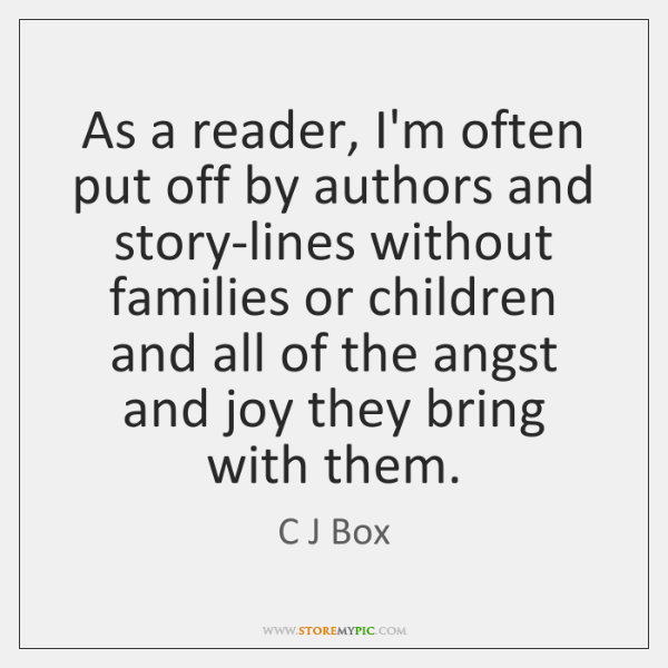 As a reader, I'm often put off by authors and story-lines without ...