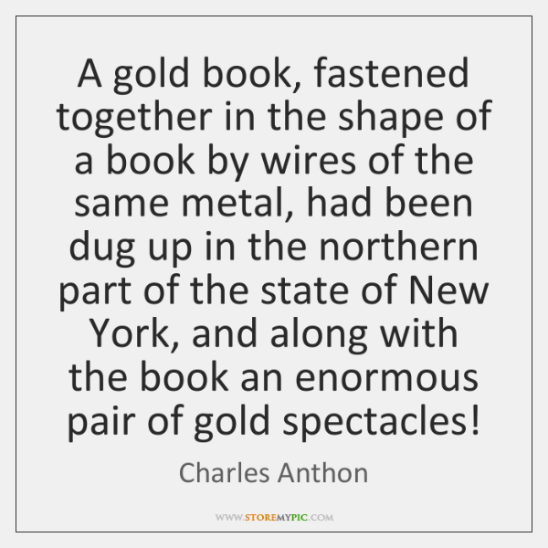 A gold book, fastened together in the shape of a book by ...