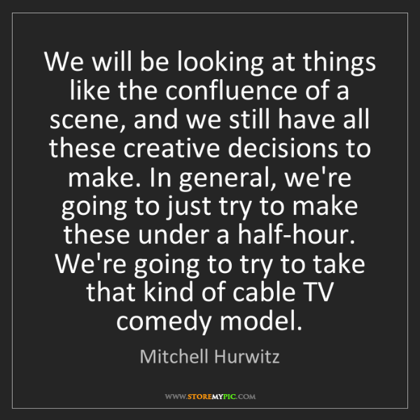 Mitchell Hurwitz: We will be looking at things like the confluence of a...