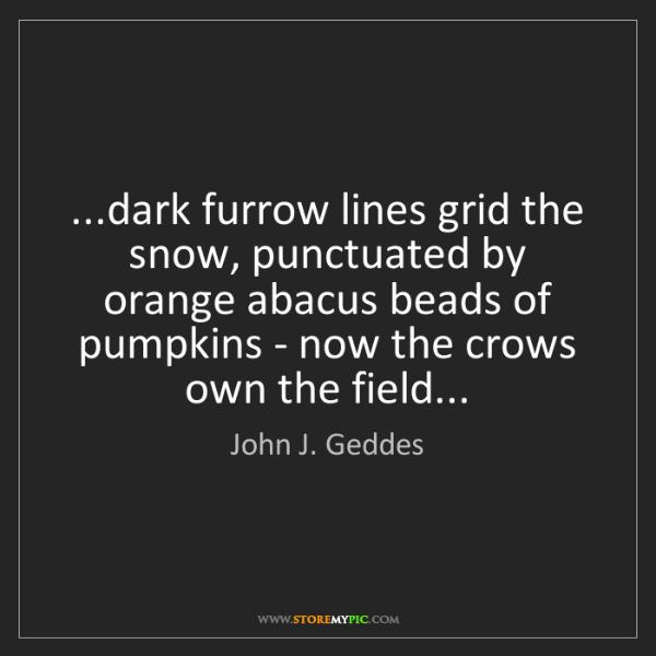 John J. Geddes: ...dark furrow lines grid the snow, punctuated by orange...