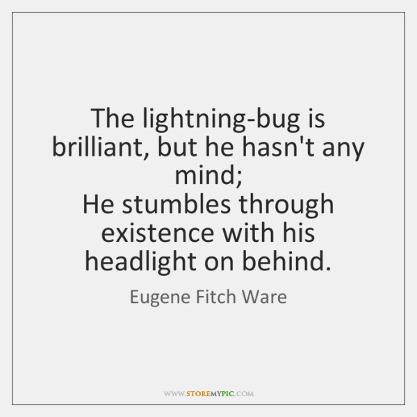 The lightning-bug is brilliant, but he hasn't any mind;  He stumbles through ...