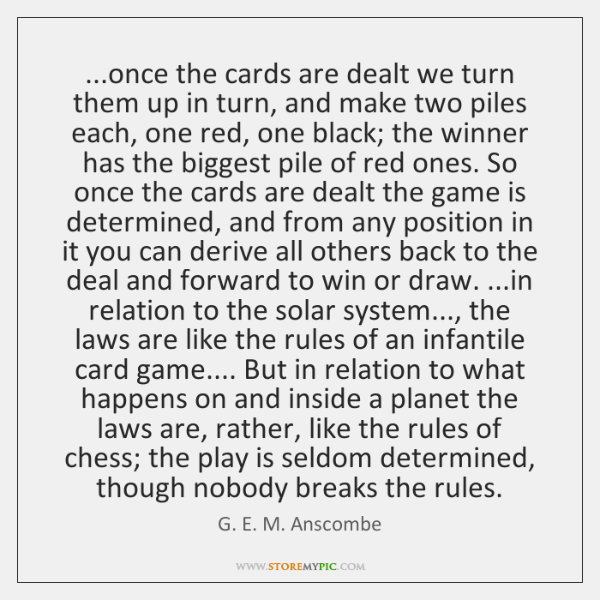...once the cards are dealt we turn them up in turn, and ...