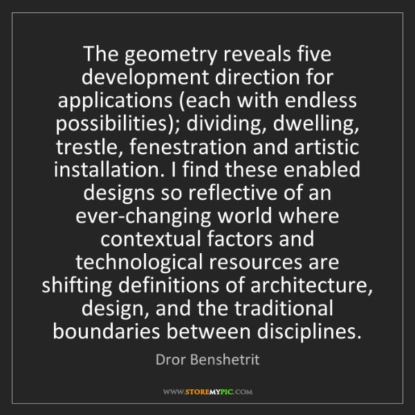 Dror Benshetrit: The geometry reveals five development direction for applications...