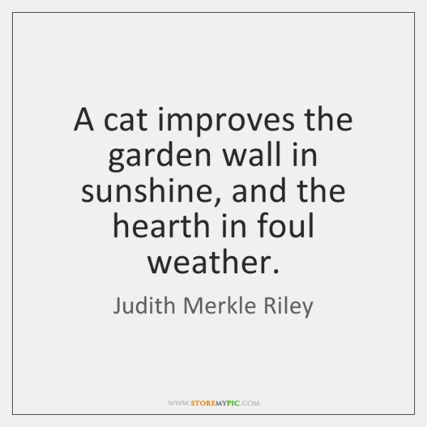 A cat improves the garden wall in sunshine, and the hearth in ...
