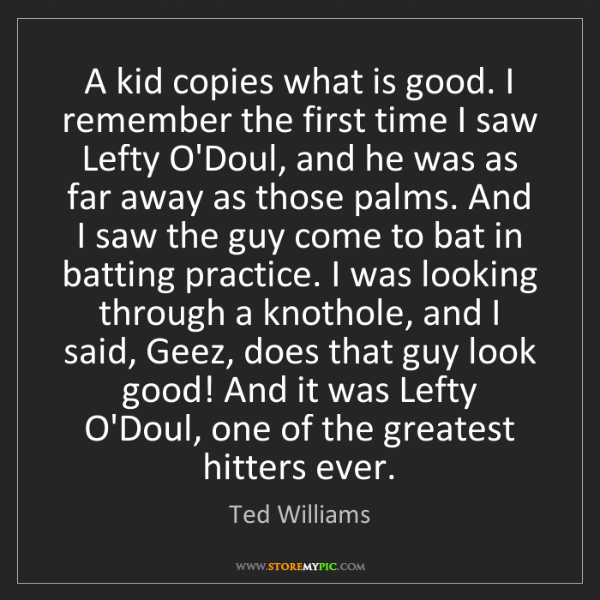 Ted Williams: A kid copies what is good. I remember the first time...