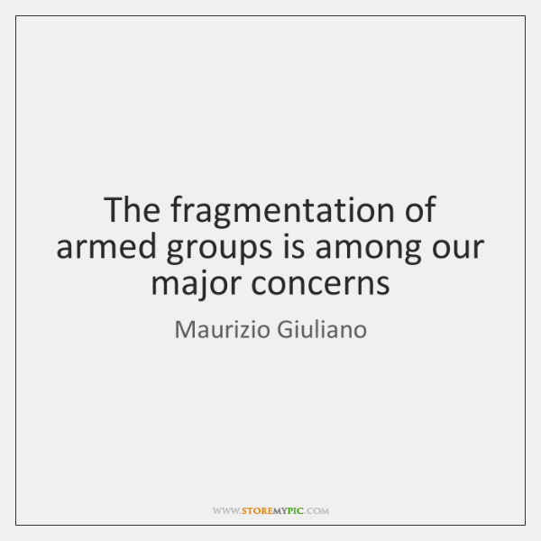 The fragmentation of armed groups is among our major concerns