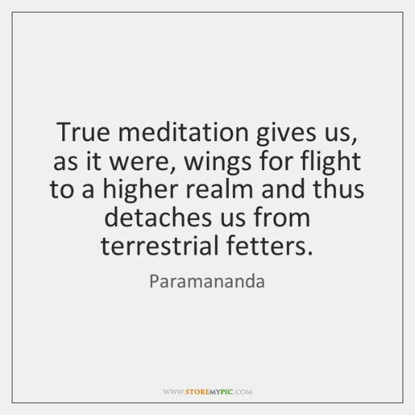 True meditation gives us, as it were, wings for flight to a ...