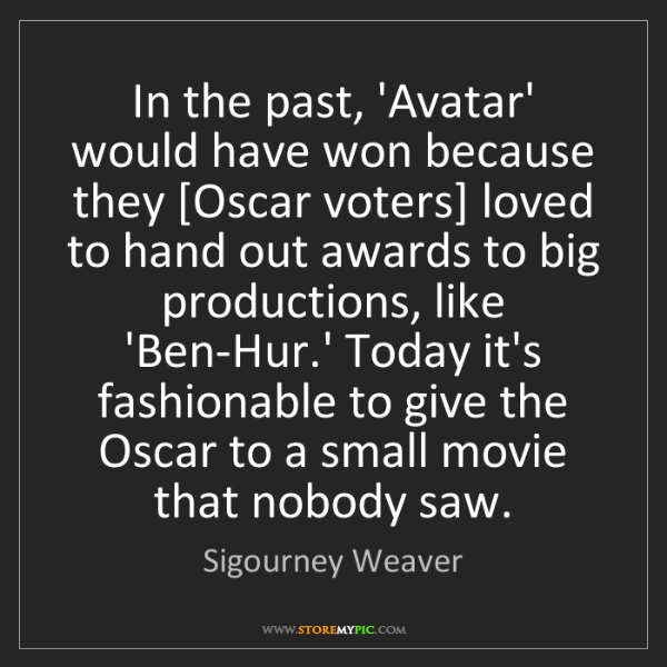 Sigourney Weaver: In the past, 'Avatar' would have won because they [Oscar...