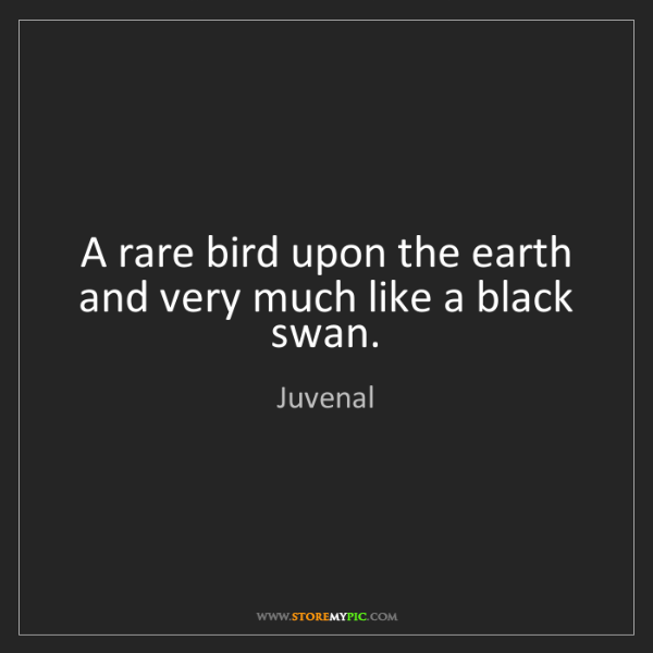 Juvenal: A rare bird upon the earth and very much like a black...