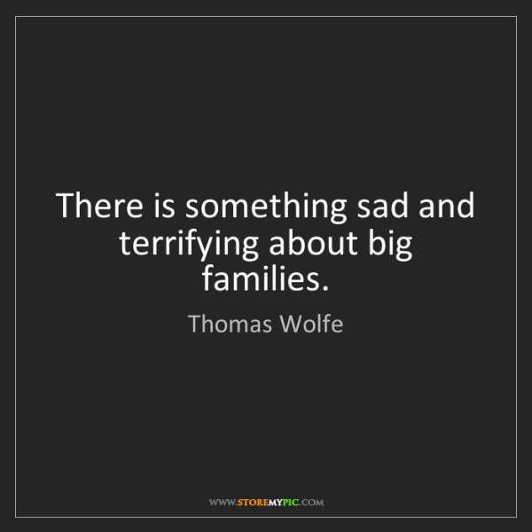 Thomas Wolfe: There is something sad and terrifying about big families.