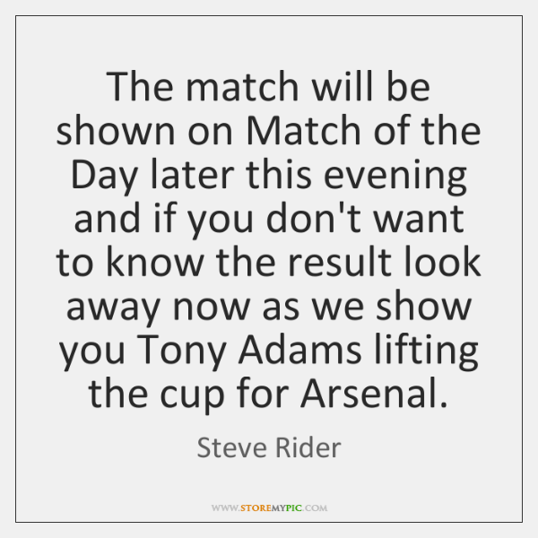 The match will be shown on Match of the Day later this ...