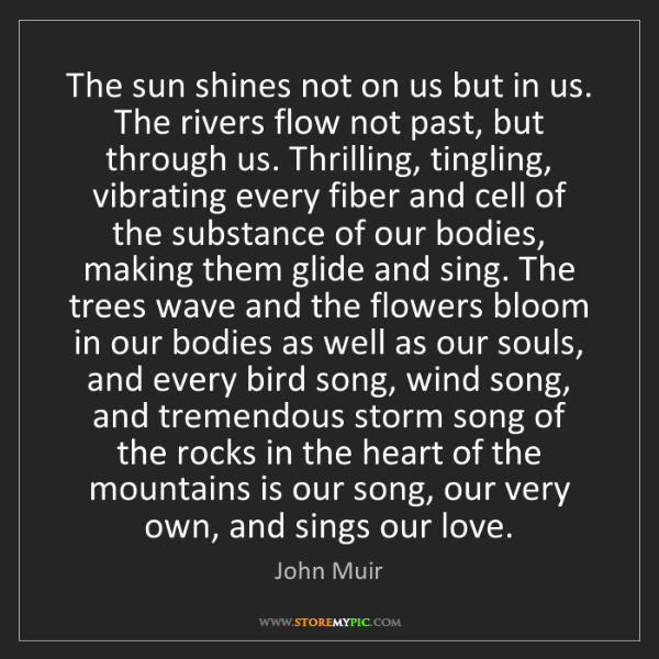 John Muir: The sun shines not on us but in us. The rivers flow not...