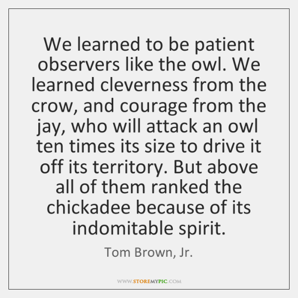 We learned to be patient observers like the owl. We learned cleverness ...
