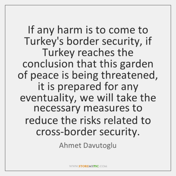 If any harm is to come to Turkey's border security, if Turkey ...