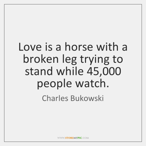 Love is a horse with a broken leg trying to stand while 45,000 ...