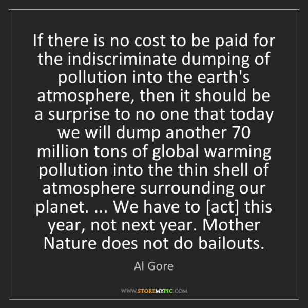 Al Gore: If there is no cost to be paid for the indiscriminate...