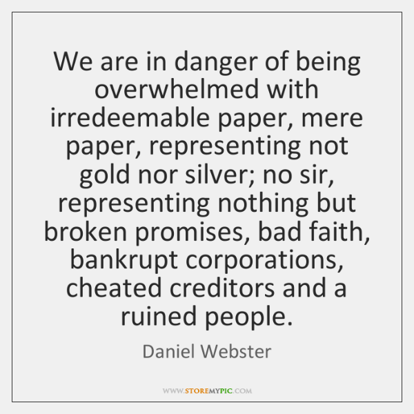 We are in danger of being overwhelmed with irredeemable paper, mere paper, ...