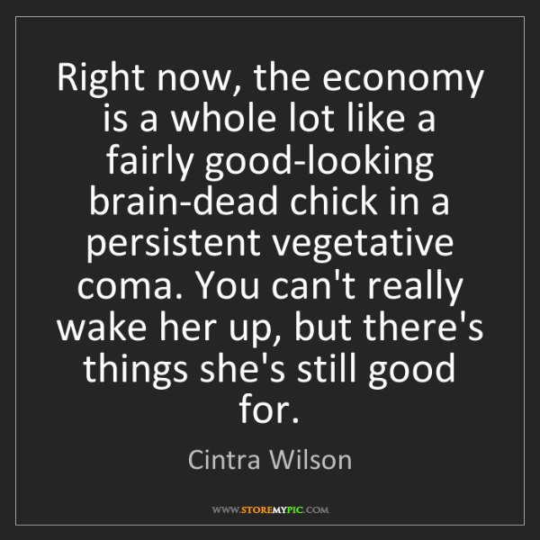 Cintra Wilson: Right now, the economy is a whole lot like a fairly good-looking...
