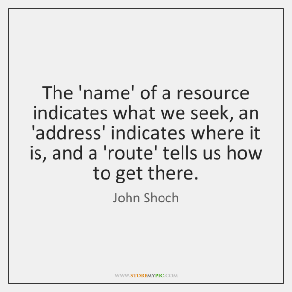 The 'name' of a resource indicates what we seek, an 'address' indicates ...