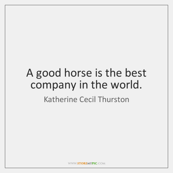 A good horse is the best company in the world.